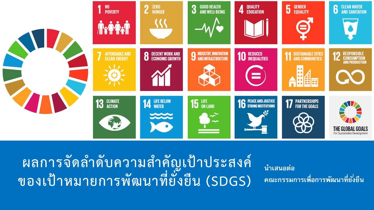 SDG move เสนอ'ผลการจัดลำดับความสำคัญเป้าประสงค์ของเป้าหมายการพัฒนาที่ยั่งยืน (SDGs)' ต่อ กพย. – 16 ธ.ค. 59