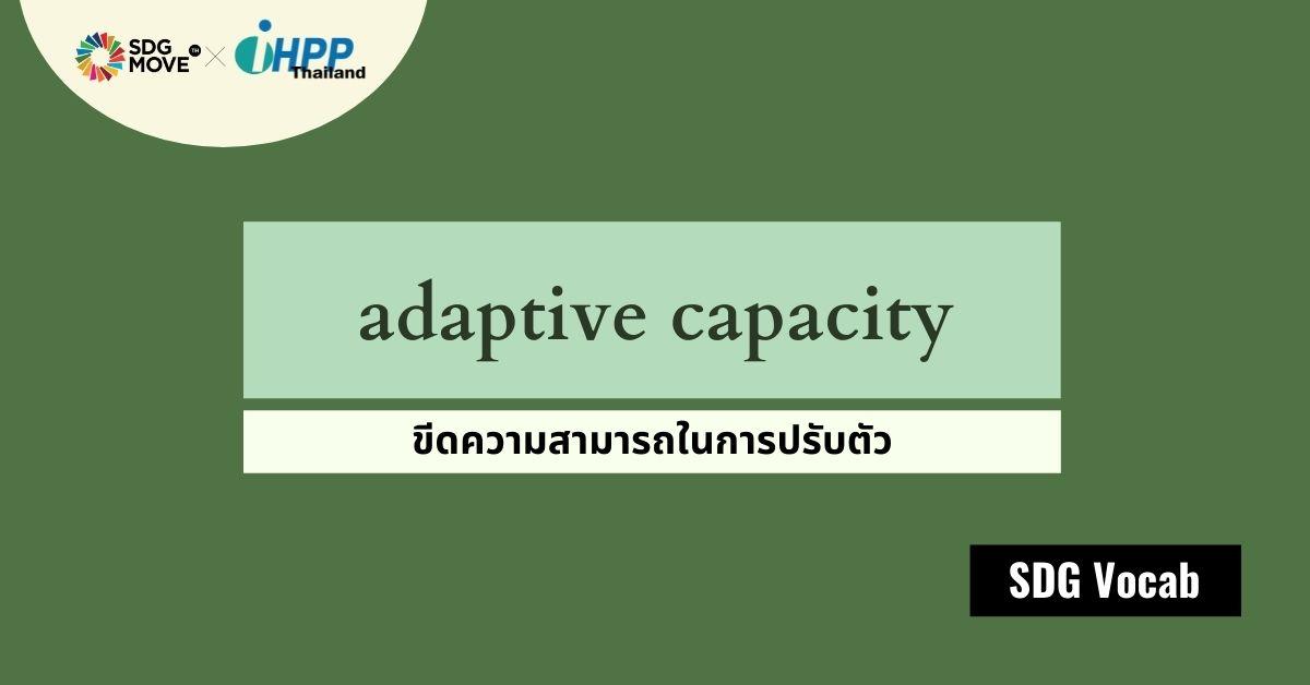 SDG Vocab | 42 – Adaptive Capacity – ขีดความสามารถในการปรับตัว